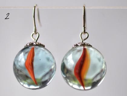 Retro Marble Earrings - Red