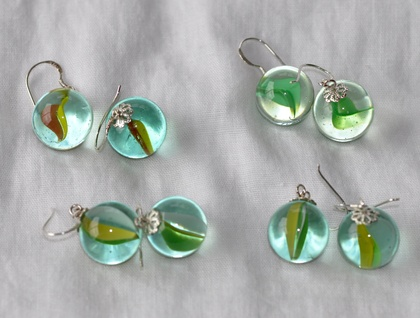 Retro Marble Earrings - Green & Yellow