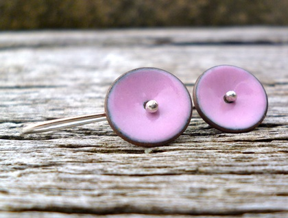 Marshmallow pink enamel disc earrrings on forged sterling silver earwires