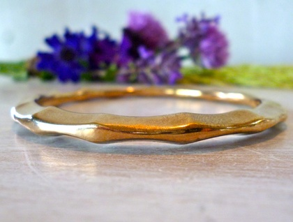 Raw bronze faceted bangle