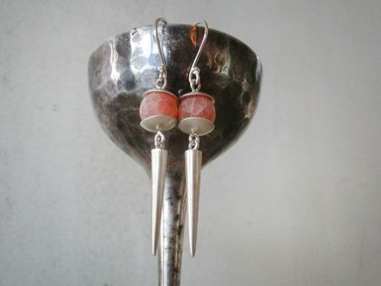 Sterling silver satin drop earrings with crackled agate