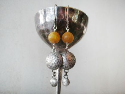 Sterling silver etched drops,with crackled yellow agate, one of a kind