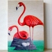 Flamingo Print on Plywood