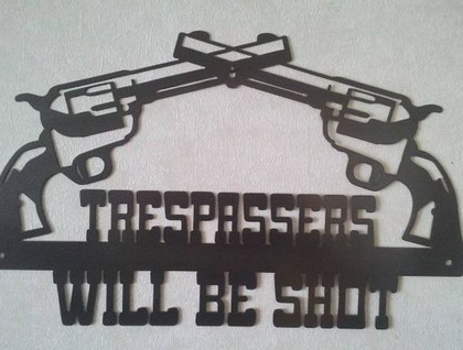 TRESPASSERS WILL BE SHOT SIGN (Black)