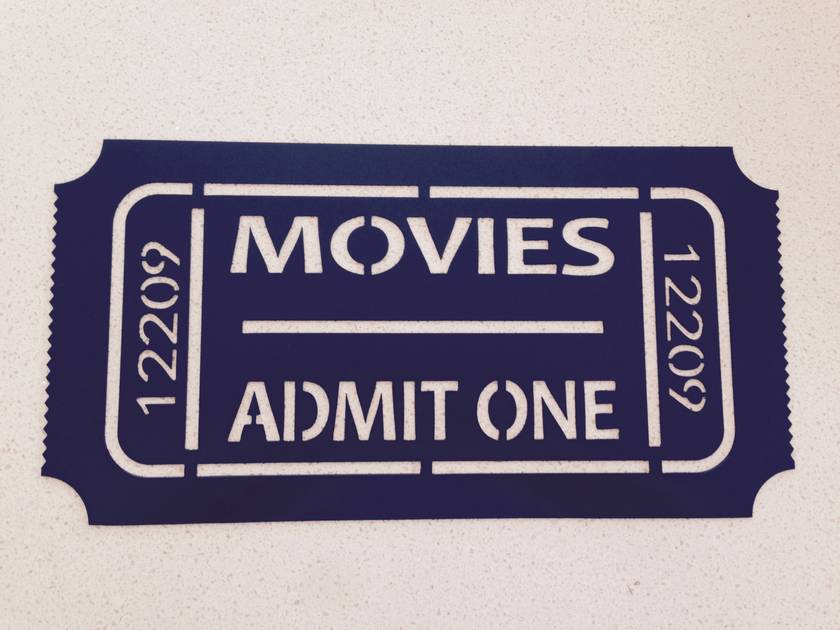 Movie Ticket Large Metal  (Check me out)
