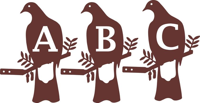 Private Listing for Shardonnay 3 x Woodpigeons with ABC cut outs