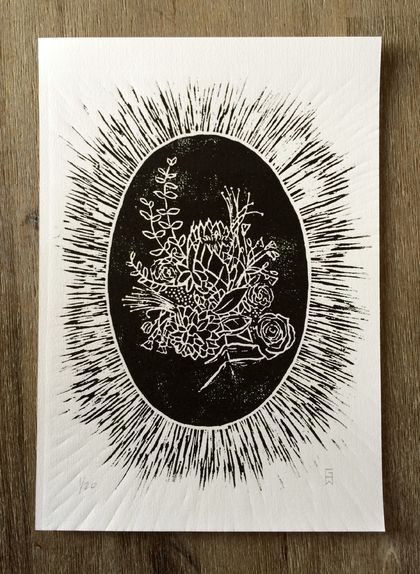 Floral Cameo. Woodcut print.