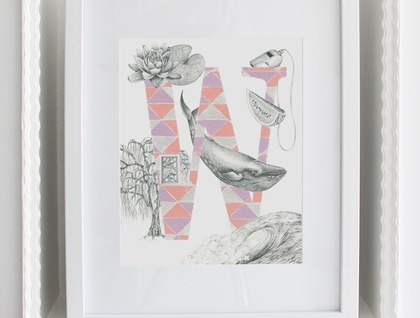 'W' alphabet print
