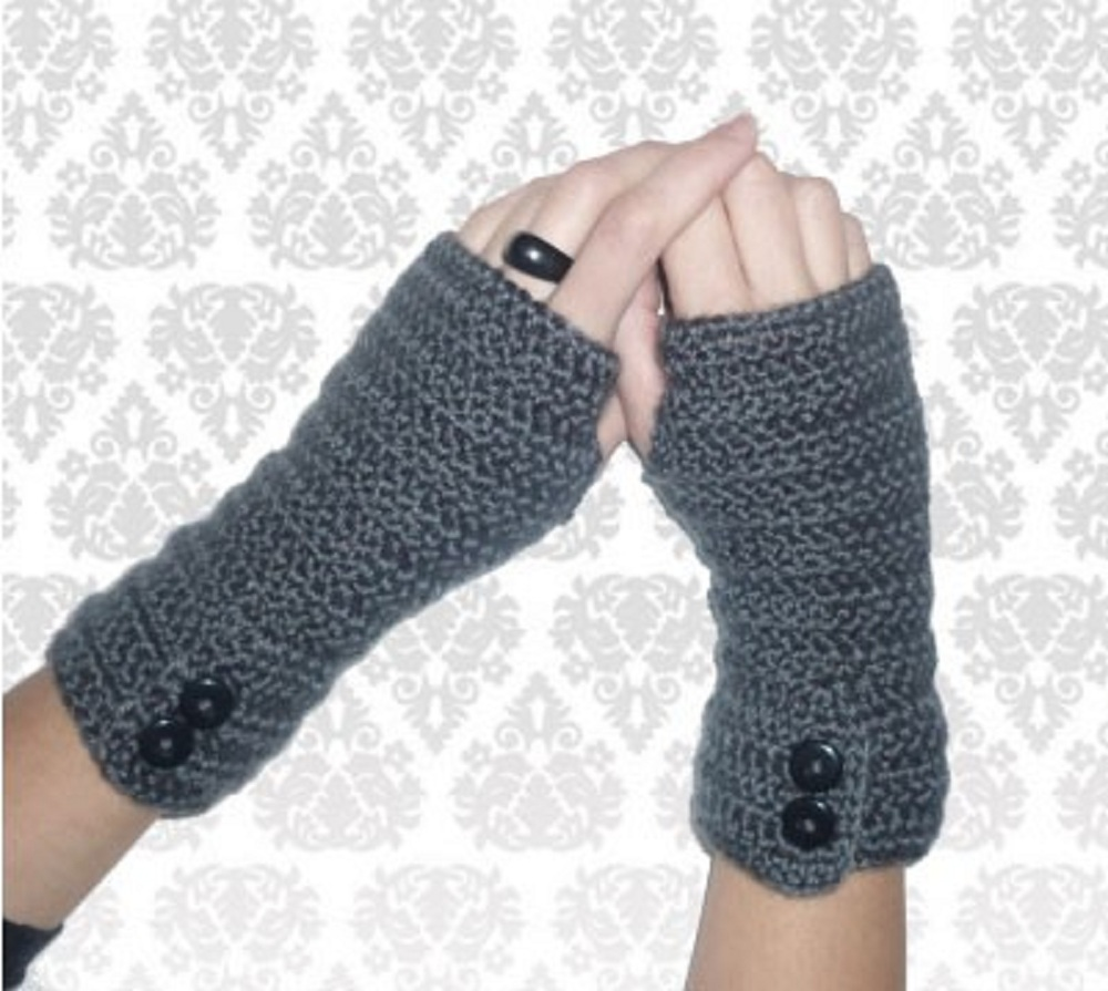 Crocheting Using Your Arms : GREY Crochet arm warmers with fancy buttons! 100 % wool SALE! Felt
