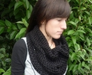 Soft Cotton Crochet Cowl in BLUE CHARCOAL