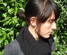 Black Crochet Cowl Neckwarmer - Cruelty Free Vegan Cotton