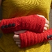 RED Wool Crochet Armwarmers With Fancy Buttons or Your Choice of Colour