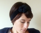 ROSE Crochet Headband - Ear Warmer in black and grey or a custom colour