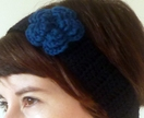 ROSE Crochet Headband - Ear Warmer in black and teal blue or a custom colour