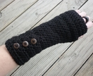 Black Crochet Arm Warmers with buttons!