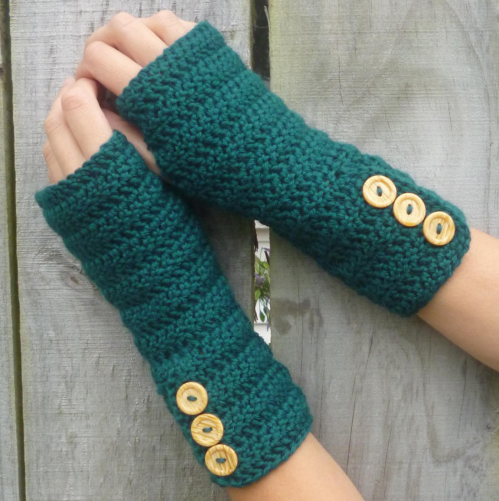 Crocheting With Arms : GREEN Wool crochet arm warmers, fingerless gloves, with fancy buttons ...