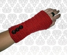 RED Crochet Armwarmers With Buttons!