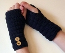 Navy Crochet Fingerless Gloves Arm warmers With Fancy Buttons