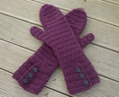 Crochet Mittens With Fancy Buttons in BERRY or your choice of colour
