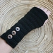 BLACK Wool Crochet Armwarmers With Fancy Buttons or Your Choice of Colour