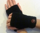 BLACK crochet arm warmers, fingerless gloves, with fancy buttons