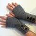 Grey Crochet Fingerless Gloves Arm warmers