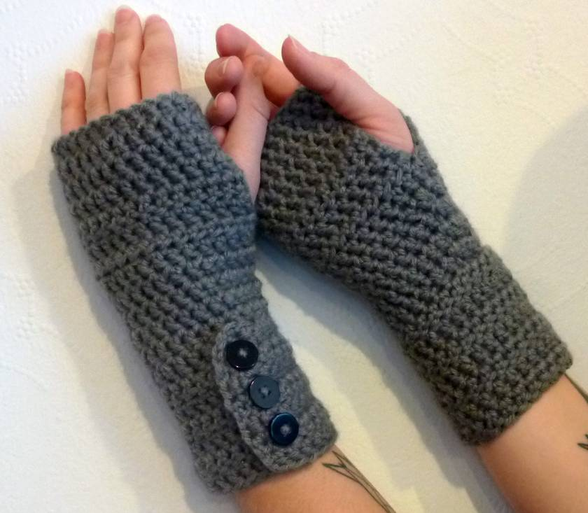 Grey Crochet Fingerless Gloves Arm warmers