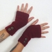 WINE crochet arm warmers, fingerless gloves with buttons