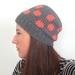 Polka dots! Coral and grey crochet hat.