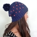Tiny dots! Navy and coral crochet hat.