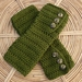 MOSS GREEN Crochet Armwarmers With Fancy Buttons