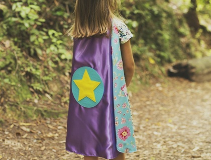 Kids Superhero Cape- Pink with Mermaids