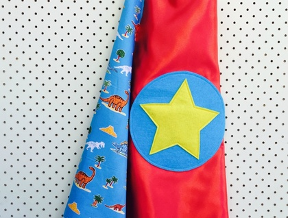 Kids Superhero Cape - Red with Dinosaurs