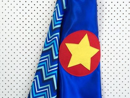Kids Superhero Cape - Blue with blue chevron