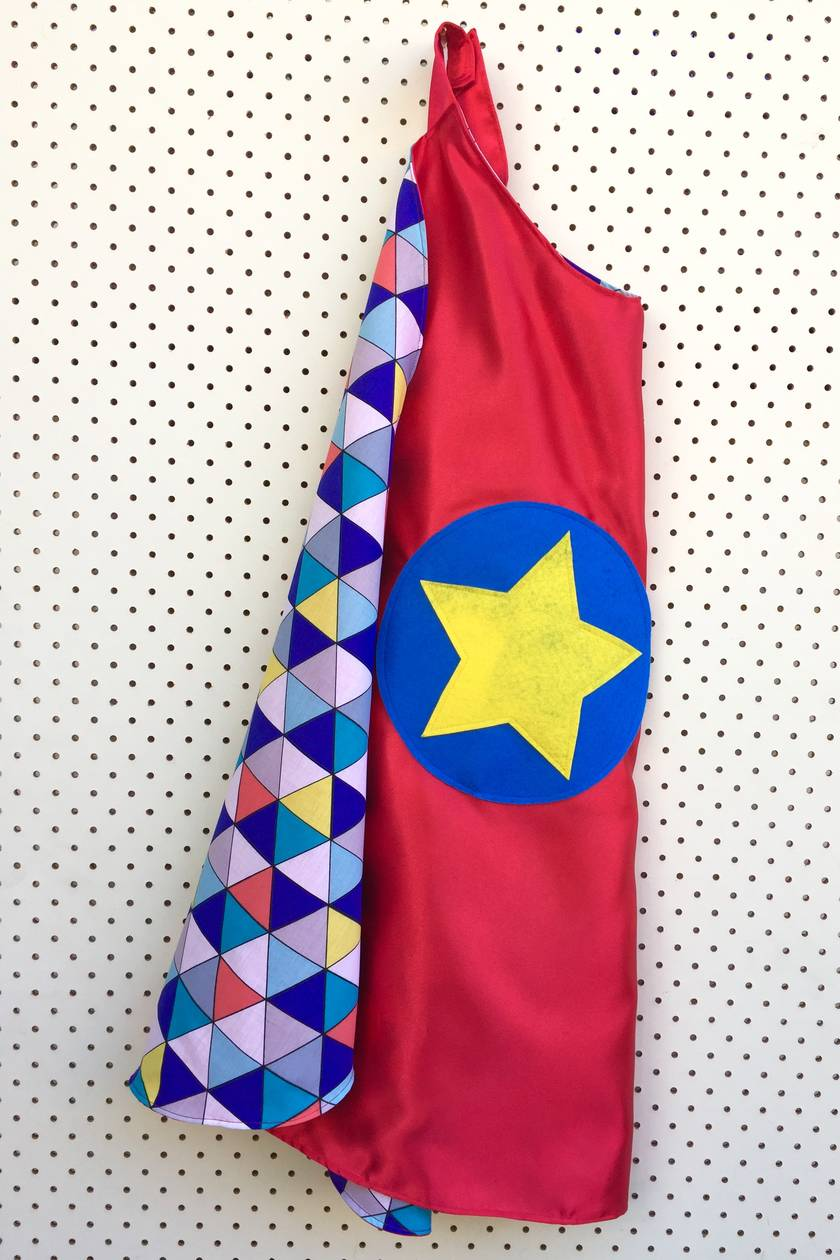 Kids Superhero Cape - Red with Triangles