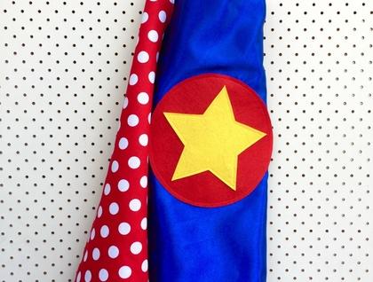 Kids Superhero Cape - Blue with spots