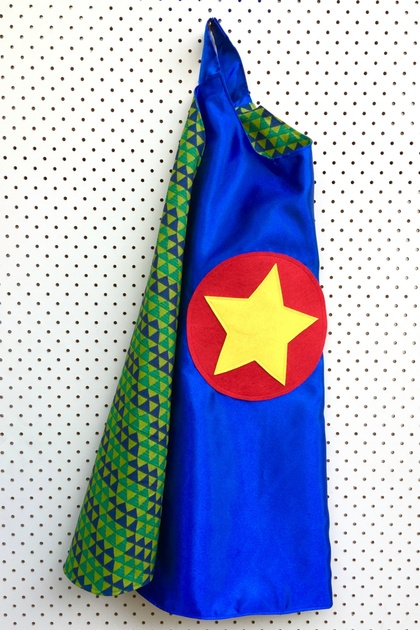 Kids Superhero Cape - Blue with triangles
