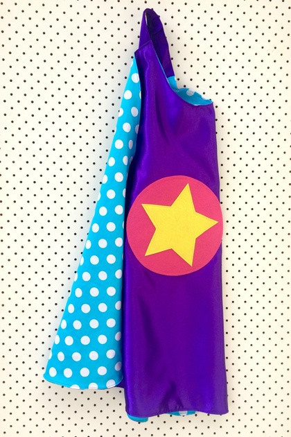 Kids Superhero Cape - Purple with Blue and White Spots