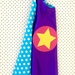 Kids Superhero Cape - Purple with Blue and White Spots