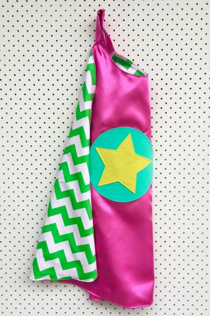 Kids Superhero Cape- Pink with Green and White Chevron