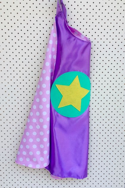 Kids Superhero Cape- Lilac with Pastal Pink and White Spots