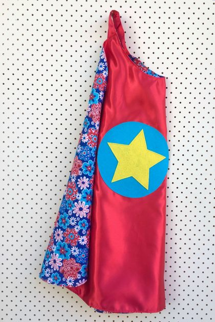 Kids Superhero Cape - red with floral design