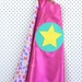 Kids Superhero Cape- Pink with Butterfly design