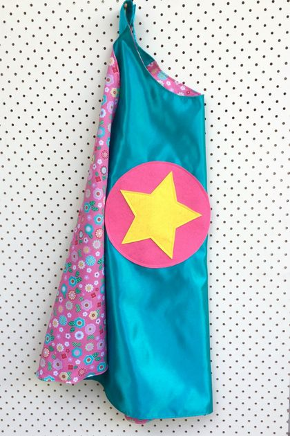 Kids Superhero Cape - Turquoise with Flowers