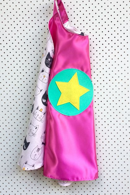 Kids Superhero Cape- Pink with Cats