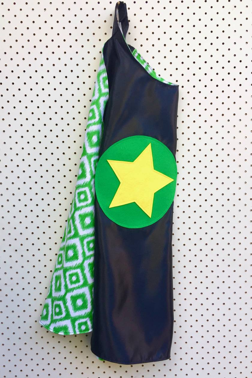 Kids Superhero Cape - Black with Green patterns