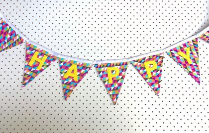 Bunting - Happy Birthday with triangles