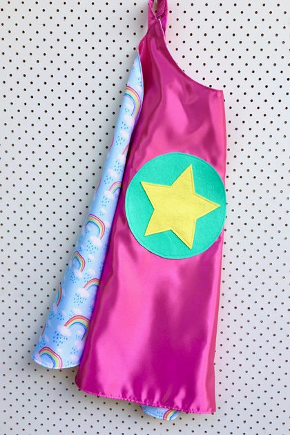Kids Superhero Cape- Pink with Rainbows