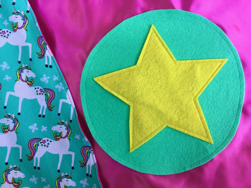 Kids Superhero Cape- Pink with Unicorns