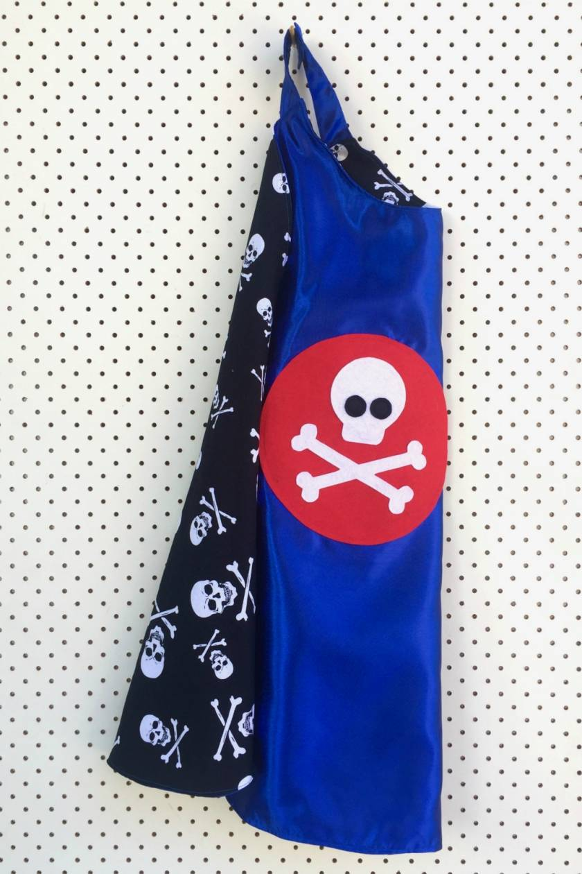 Kids Superhero Cape - Blue with pirate design